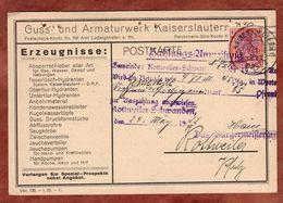 Karte, Guss- Und Armaturwerk Kaiserslautern, Germania, Perfin Firmenlochung AWK, Nach Kottweiler 1922 (92045) - Deutschland