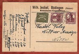 Karte, Wilh Jeckel Buedingen, Germania U.a., Per Bahnpost Giessen-?, Nach Nidda 1921 (92046) - Deutschland