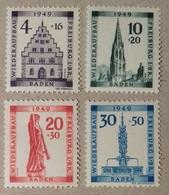Allemagne, Occupation Alliée, Zone Française, Baden, Série 42 à 45 (Y &T), Timbres Neufs* Avec Charnière. Cote 55 Euros - Zone Française