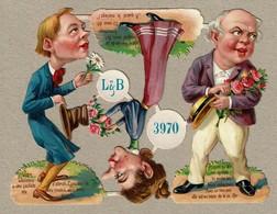 Littauer & Boysen L & B N° 3970 - SCRAP -  DECOUPIS  - Gaufré / Embossed - Personnages Grotesques - 3 Scans - Victorian Die-cuts