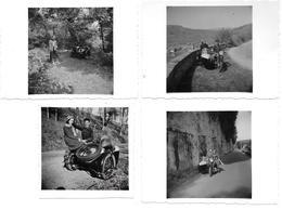 SIDE CAR  - LOT DE 4 PHOTOS ANNEES 1950 - Auto's