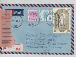 REF515/ TP 1850-1963 Baudouin Elström-2003 S/L.Avion Recommandée C.Post.5 30/4/81 Rose Label > USA Washington - Marcophilie