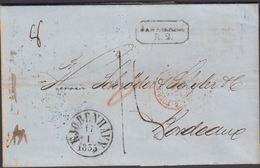 1855. DANEMARK R 2 + KJØBENHAVN 17 1 1855 To Bordeaux. Transit Cancels: KDOPA HAMBURG... () - JF321220 - Danimarca