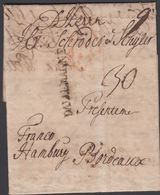 1749. DALLEMAGNE To Bordeaux Via Hamburg From Copenhagen.  Postage Marking 30. () - JF321223 - Danimarca