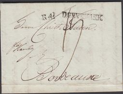 1803. R 4 DÆNNEMARK To Bordeaux Via Hamburg From Lübeck.  Postage Marking 15. Franco ... () - JF321225 - Danimarca
