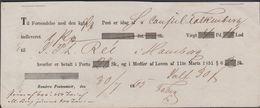 1865. Randers Postkontoir 30/4 1865 To Hamburg. Receipt 1 Ks. Vægt 4 Pd. 16 Lod. Port... () - JF321231 - Danimarca
