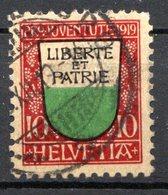 SUISSE - (Postes Fédérales) - 1919 - N° 174 - (Pour La Jeunesse. Armoiries Des Cantons) - Usati