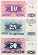 BOSNIA ED ERZEGOVINA 10,25,50 DINARA 1992 P-10,11,12  UNC - Bosnië En Herzegovina