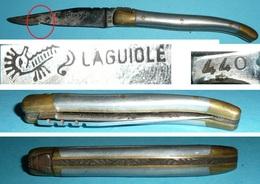 Couteau De Poche Pliant, Laguiole 440 Hippocampe, Plaquettes Métal, Lame - Outils