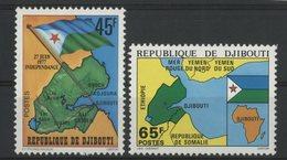 DJIBOUTI N° 458 + 459 NEUFS ** MNH . INDEPENDANCE .TB - Djibouti (1977-...)