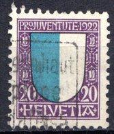 SUISSE - (Postes Fédérales) - 1922 - N° 190 - (Pour La Jeunesse. Armoiries Des Cantons) - Usati