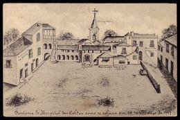 Postal Antigo: Frontaria Do Hospital Das CALDAS Da RAINHA, Como Era Em 1747.Edição Tipografia Caldense (Leiria) PORTUGAL - Leiria