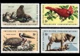 1972 USA Wildlife Conservation Stamps Sc#1464-7 Seal Cardinal Pelican Bird Sheep Ram Mammal - Marine Life