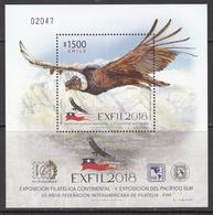 2018 Chile Condor Birds Of Prey Oiseaux EXFIL Souvenir Sheet MNH - Chili