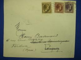 """LUXEMBOURG 1935 FRANCE VERDUN Lettre Enveloppe Cover """" Visitez VERDUN Et Ses Champs De Batailles """" Surcharge 70 - Covers & Documents"""
