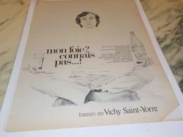 ANCIENNE PUBLICITE MON  FOIE CONNAIS PAS  DE VICHY 1969 - Affiches