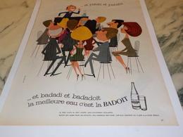 ANCIENNE PUBLICITE EAU MINERALE BADOIT  1961 - Affiches