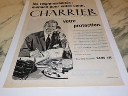 ANCIENNE PUBLICITE VOTRE PROTECTION EAU NATURELLE CHARRIER 1961 - Affiches