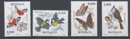 2002-MONACO.N°2323/26** PAPILLONS OISEAUX - Unused Stamps