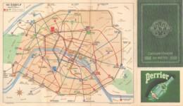 PARIS - METRO, AUTOBUS  PLANS  CINQUANTENAIRE DU METRO 1900 - 1950  PUBLICITE EAU PERRIER - Europe