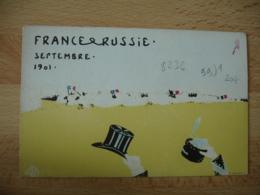 France Russie Septembre 1901 Carte Illustrateur  Chapeau Defile Farnier - Events