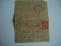 Carte Pneumatique Chaplain  1 F 50 Rouge Entier Postal - Postwaardestukken
