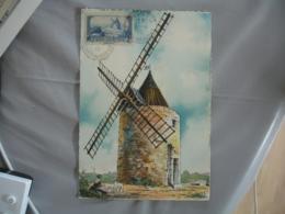 1945 Fontvieille Moulin A Daudet  Cm Carte Maximum C M - Maximum Cards