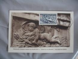 1952 Lot De 2 Obliteration Grand Cachet 6 Cotes Chateau Versailles  Cm Carte Maximum C M - Maximumkaarten