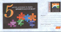 Romania - Stationery Cover Unused 2011(023) -National Agency,Anti-Doping,5 Years Of Activity In The Field Of Clean Sport - Droga