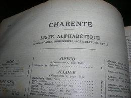 Pages Didot Bottin 1939 Charente Annuaire Du Commerce Ttes Les Communes Artisan Industriel Commercant Cafe Bar - Non Classés