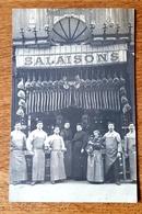 Cpa CARTE PHOTO 18 CHER - ARGENT SUR SAULDRE SALAISONS L. BOULOT DEVANTURE MAGASIN METIER Boucherie Charcuterie - Argent-sur-Sauldre