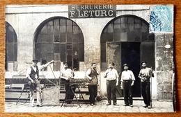 Cpa CARTE PHOTO 18 CHER - ARGENT SUR SAULDRE - SERRURERIE F LETURC Metier DEVANTURE Magasin - Argent-sur-Sauldre