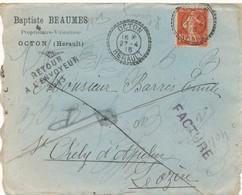 Enveloppe + Lettre En-tête Baptiste Beaumes Vins Viticulteur 27 Avril 1915 Facture Retour à L'envoyeur Semeuse 15C. - France