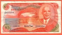 MALAWI - 5 Kwacha Du 01 03 1986  Pick 20a - Malawi