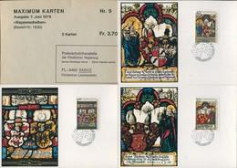 09500) Liechtenstein - Mi 731 / 733 - MK 9 - 40-470-110Rp    Wappenscheiben Mit Kuvert - Maximum Cards