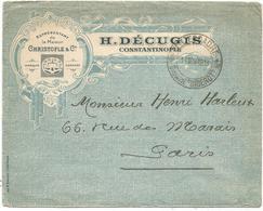 ESCADRE CUIRASSE DIDEROT 11 NOV 1918  BELLE LETTRE H DEGUGIS REPRESENTANT TEXTILE CONSTANTINOPLE TURQUIE - Marcophilie (Lettres)