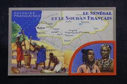 SÉNÉGAL - Carte Du Sénégal Et Du Soudan ,édition Publicitaire Des Produits Chimiques Lion Noir De Paris - L 55915 - Sénégal