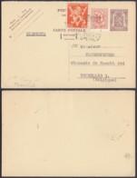 BELGIQUE EP 90c+COB 682+850 SUR CARTE REPONSE DE TENERIFE (EB) DC-7393 - 1951-1975 Heraldischer Löwe (Lion Héraldique)