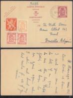 BELGIQUE EP 65c+ COB 419X2+682A+710 SUR CARTE REPONSE DE TRONDHEIM (EB) DC-7397 - 1951-1975 Lion Héraldique