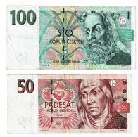 Czech Republic , 1997 , 50 Korun , 100 Korun , Used - Czech Republic