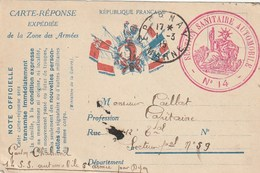 France. Carte Réponse Expédiée De La Zone Des Armé. Circulé En Franchise Militaire. Epernay 1915. - Militaria