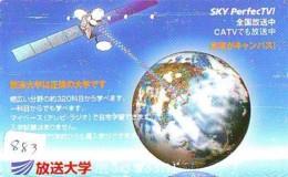 Télécarte Japon SATELLITE (883) ESPACE * TERRESTRE * MAPPEMONDE * Telefonkarte Phonecard JAPAN * GLOBE 1 - Ruimtevaart