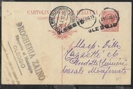 STORIA POSTALE REGNO - ANNULLO MUTO OLEGGIO 24.LUG.15 SU INTERO LEONI PER CASALE MONFERRATO - 1900-44 Victor Emmanuel III.