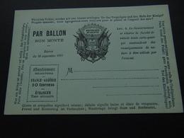 Carte Postale Officielle émise Durant La Guerre De 1870 Pour Envoi De Brèves Correspondances Par Ballons Non Montés - Pseudo-entiers Officiels