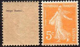 France Semeuse De Roty N°  158 ** Plein Fond Sans Sol Le 5c Orange Type_1 - 1906-38 Semeuse Camée