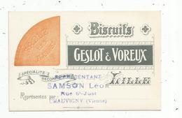 Carte De Visite , Biscuits Geslot & Voreux , Représentant : Samson Léon ,CHAUVIGNY , Sablé Des Flandres - Cartes De Visite