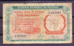 Nigeria  5 Shillings  Chief Of Banking Operations , Rare Signature - Autres - Afrique