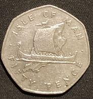 ILE DE MAN - ISLE OF MAN - 50 PENCE 1976 - Elizabeth II ( 2ème Effigie ) - KM 39 - Monnaies Régionales