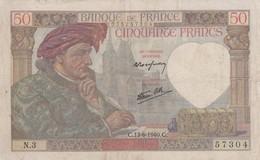 50 Francs   Jacques Coeur -1941  - X 150  Ce Billet A Circulé   Vendu En L'etat - 50 F 1940-1942 ''Jacques Coeur''