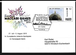 Germany Cover Franked W/ Plusbrief Individuel Stamp Posted Berlin 2015 European Maccabi Games Berlin (DD23-42) - Autres